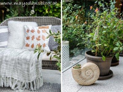 Cosy Herbst auf der Terrasse mit DIY Pflanzenstecker in Blattform