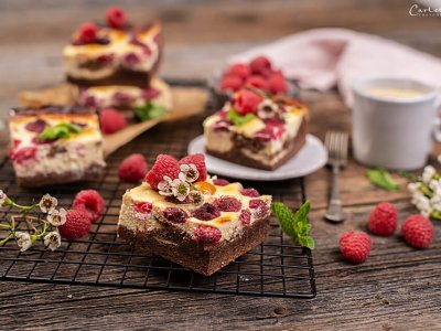 Schoko Himbeer Cheesecake Brownies
