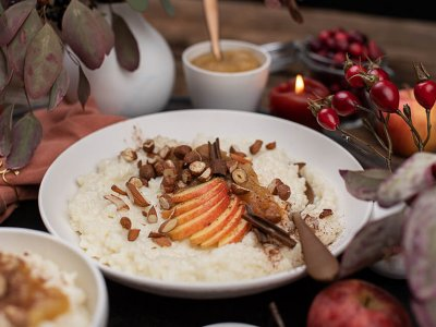 Veganer Milchreis mit Apfel Birnen Zimt Mus