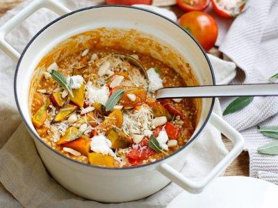 EIN AROMAPOT VOLL HERBST! Cremiges Buchweizen Risotto mit geröstetem Kürbis,Tomaten und Ricotta