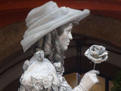 Lebende Statue: Die silberne Frau vorm Goldenen Dachl