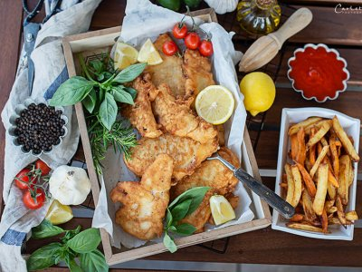 Fish and Chips mit Mirabellen Tomaten Ketchup
