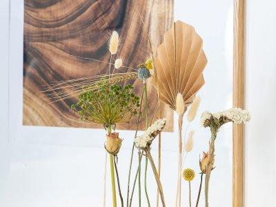 DIY Trockenblumenpodest und Palmenblätter falten