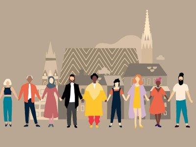 """Hier kannst du unsere """"Wir alle sind Wien!"""" Illustration downloaden"""