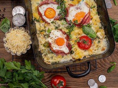 Frühstückpfanne mit Kartoffeln, Eiern & Speck