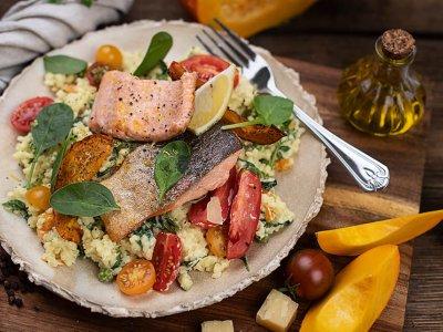Frischkäse Risotto mit Gemüse & Lachsforelle
