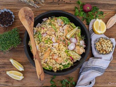 Caesar Nudelsalat mit Huhn