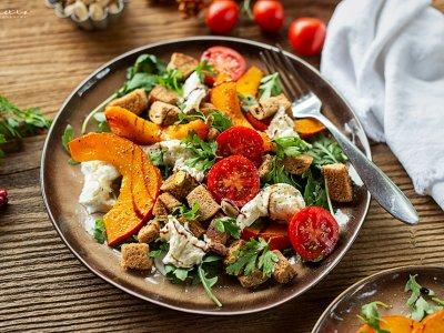 Kürbis Brot Salat
