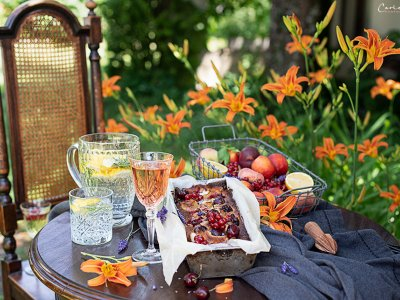Sommerfrüchte Clafoutis & Himbeereis
