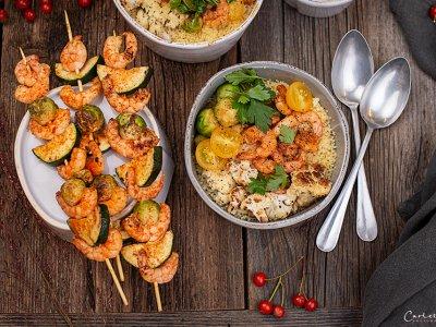 Garnelen Bowl mit Curry Mayo
